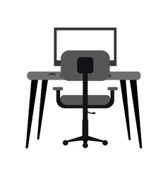 Workplace modern pc armchair desk monochromatic vector