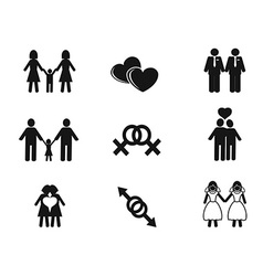 gay and lesbian icons set vector image vector image