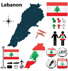 Map of Lebanon vector image vector image