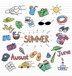 Summer sketch set vector image