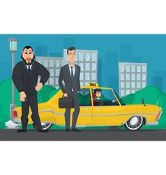 Businessman and the bodyguard standing near a taxi vector