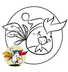 christmas coloring page and new year fun bird vector image