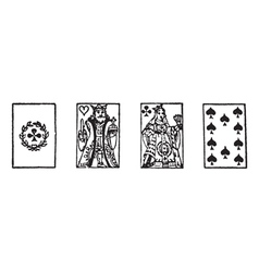 Playing cards vintage engraving vector