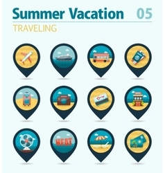 Traveling pin map icon set Summer Vacation vector image