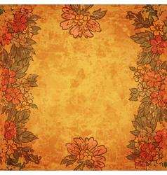 Vintage flower frame on old paper sheet vector image vector image