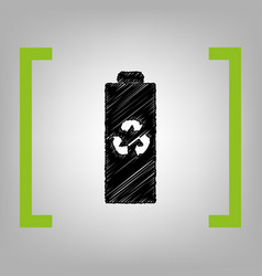 battery recycle sign black vector image vector image