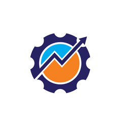 Gear arrow progress business logo vector
