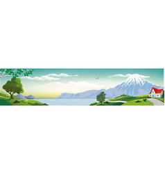 panoramic landscape - cottage by the sea vector image