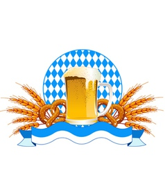round oktoberfest celebration design with beer and vector image