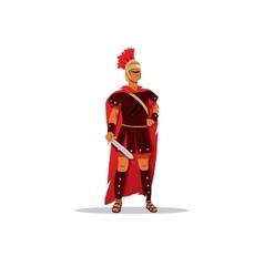 Spartan warrior in a helmet holding sword vector image