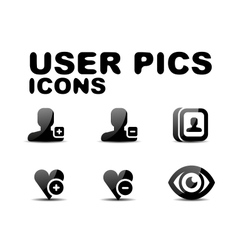 User black glossy icon set vector image