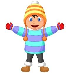 Cartoon a boy in Winter clothes waving hand vector image