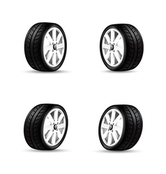 Collection of car wheels and racing tire isolated vector image vector image