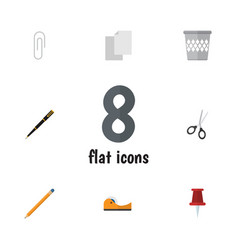 flat icon equipment set of fastener page clippers vector image vector image