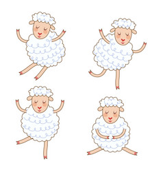 Funny little sheep set in different poses vector