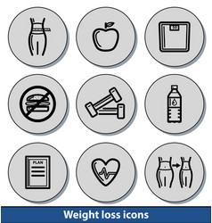 light weight loss icons vector image vector image