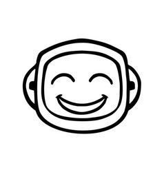 thin line smile face icon vector image vector image