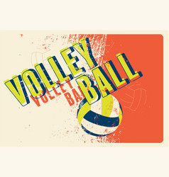 volleyball typographical vintage style poster vector image vector image
