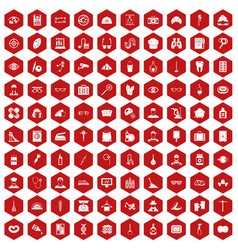 100 profession icons hexagon red vector