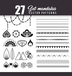 27 mandalas monochrome boho style set vector image