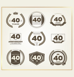 40 years anniversary logo set vector