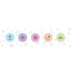 5 lunch icons vector