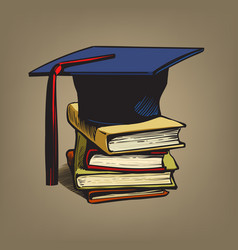 academic graduation cap on stack books retro vector image