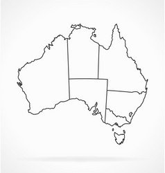 Accurate australia map outline with states vector
