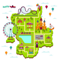 amusement park map scheme elements attractions vector image