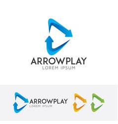 arrow play logo design vector image
