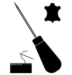 Awl needle leather icon leather working tools vector