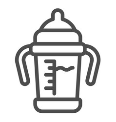 baby sippy cup line icon bottle with toddler vector image