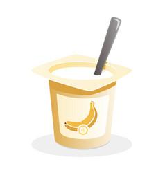 banana yogurt with spoon inside on white vector image
