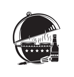Bbq grill logo icon barbecue grilled meat vector