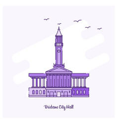 brisbane city hall landmark purple dotted line vector image