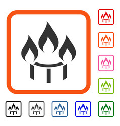 Burner nozzle fire framed icon vector