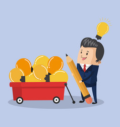 businessman with ideas on cart vector image