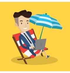 Businessman working with laptop on the beach vector image