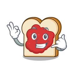 Call me bread with jam mascot cartoon vector