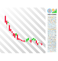 candlestick chart falling slowdown flat icon with vector image
