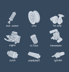 car parts on blue vector image