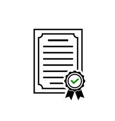 certificate icon rosette symbol and green check vector image