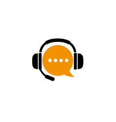 chat symbol and headphone with microphone vector image