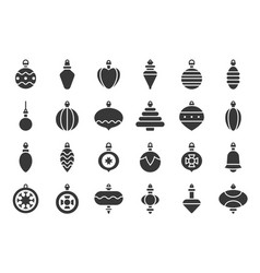 christmas ball ornaments icon set 2 solid design vector image
