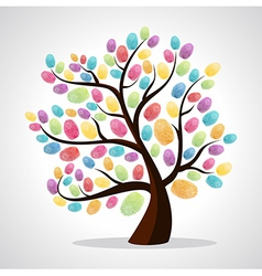 Colorful finger prints tree vector image