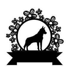 Contour dog animal inside circle rustic flowers vector
