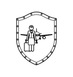 contour shield of flight attendant and aeroplane vector image