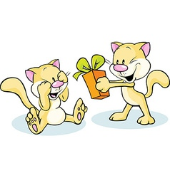 cute cat giving gift - funny on white background vector image