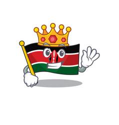 Cute flag kenya character smiley king cartoon vector