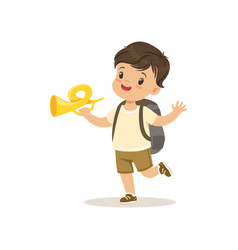Cute little boy in scout costume blowing horn vector
